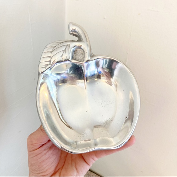 pewter apple shaped dish silver tray